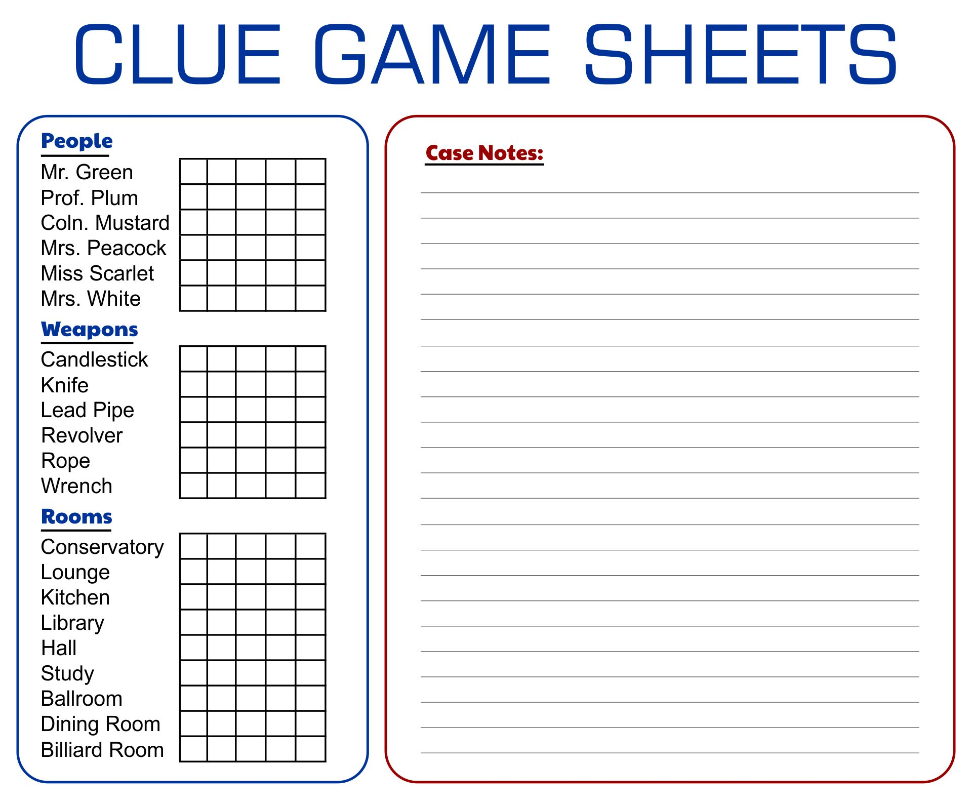 Printable Board Game Clue Sheets