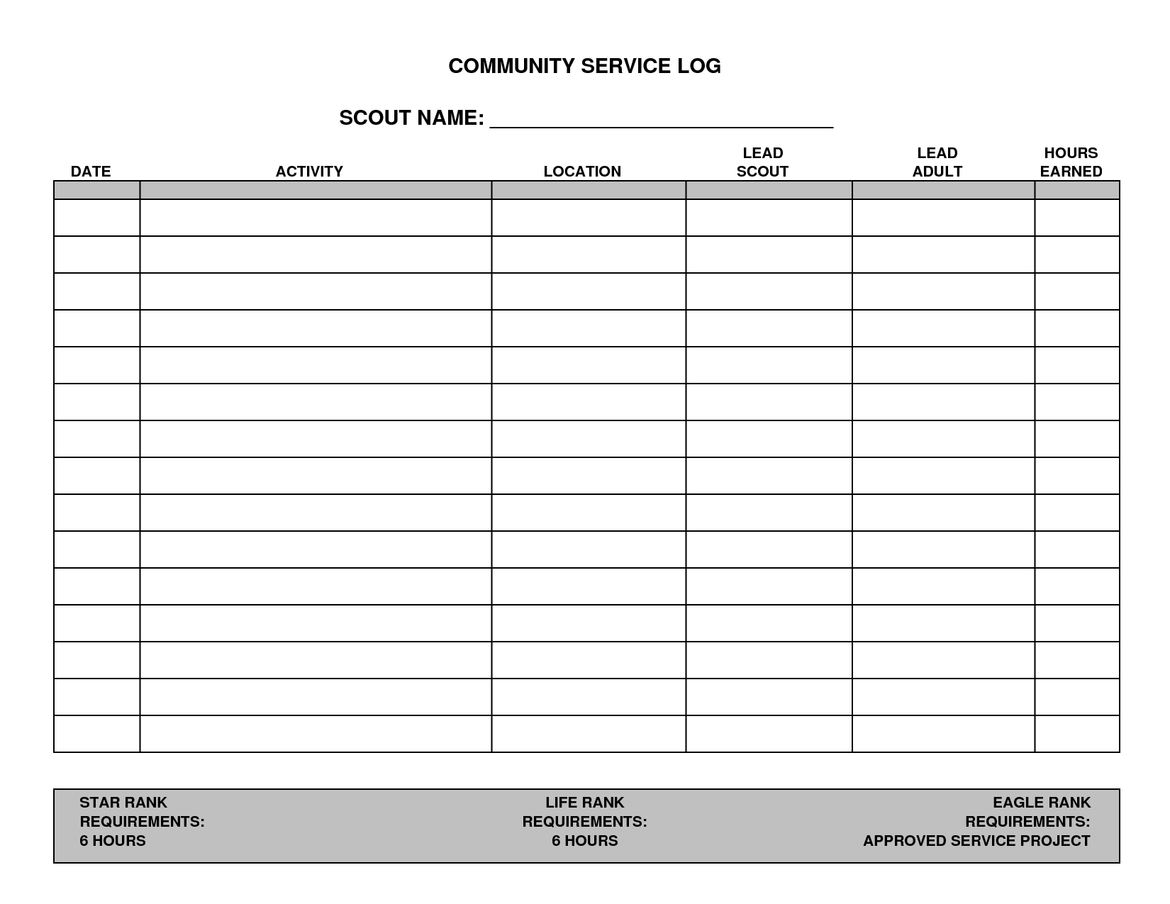 community service paper print out for school 7 best images of printable hours log volunteer hours log 27720 | community service hours log template 337497