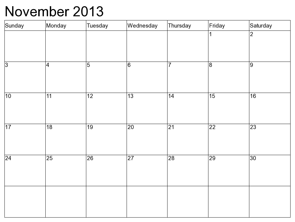 ... Calendar 2013 5 best images of november 2013 calendar printable