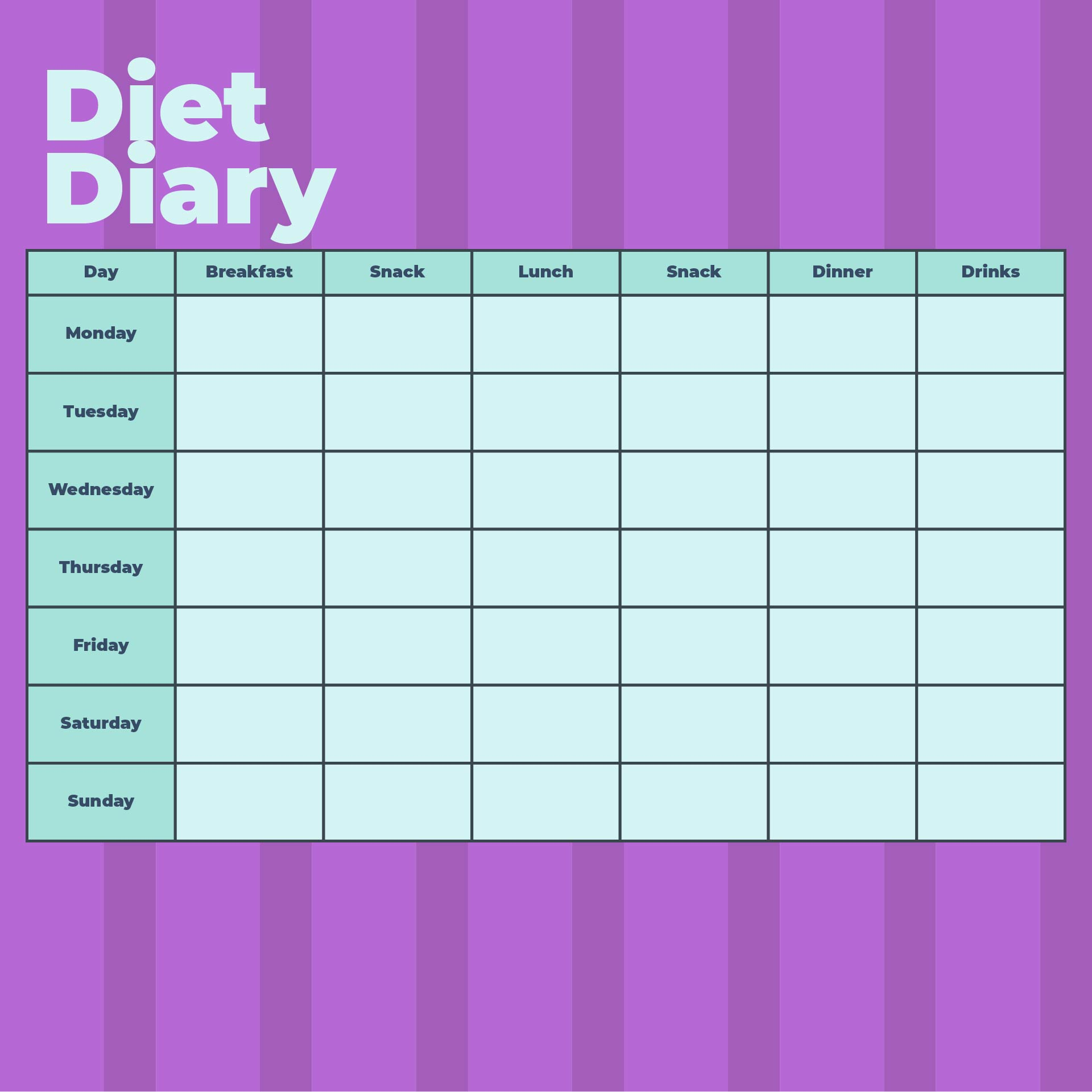 Diabetes Food Log Sheet Printable