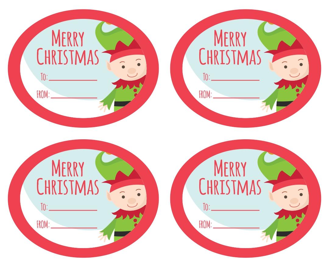 Elf Printable Mason Jar Christmas Gifts Tag