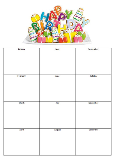 8 Images of Birthday List Template Printable
