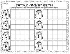 5 Images of Pumpkin Ten Frames Printables