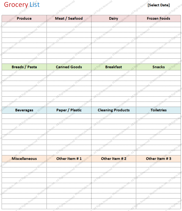 Printable Grocery List Template Basic - Generic Grocery Shopping List ...