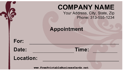 appointment cards templates free - 7 best images of free printable appointment cards free