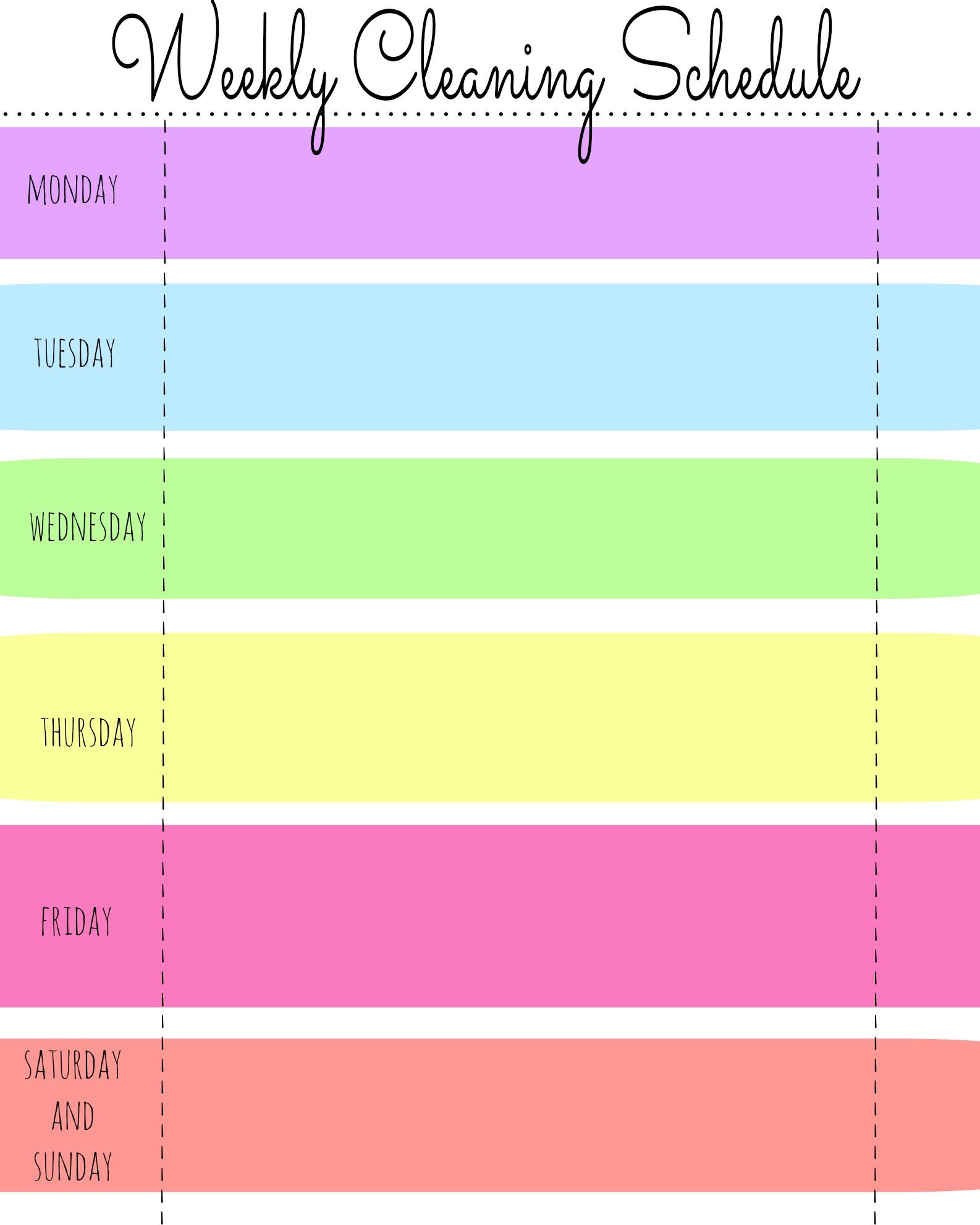 Free Printable Blank Weekly Cleaning Schedule
