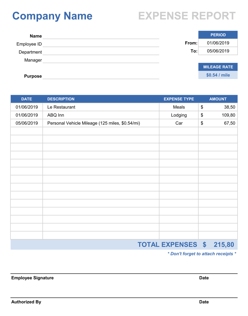 Printable Business Expense Log