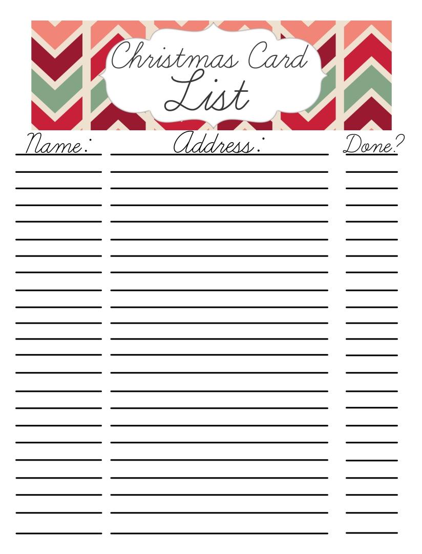 Printable Christmas Card List Template