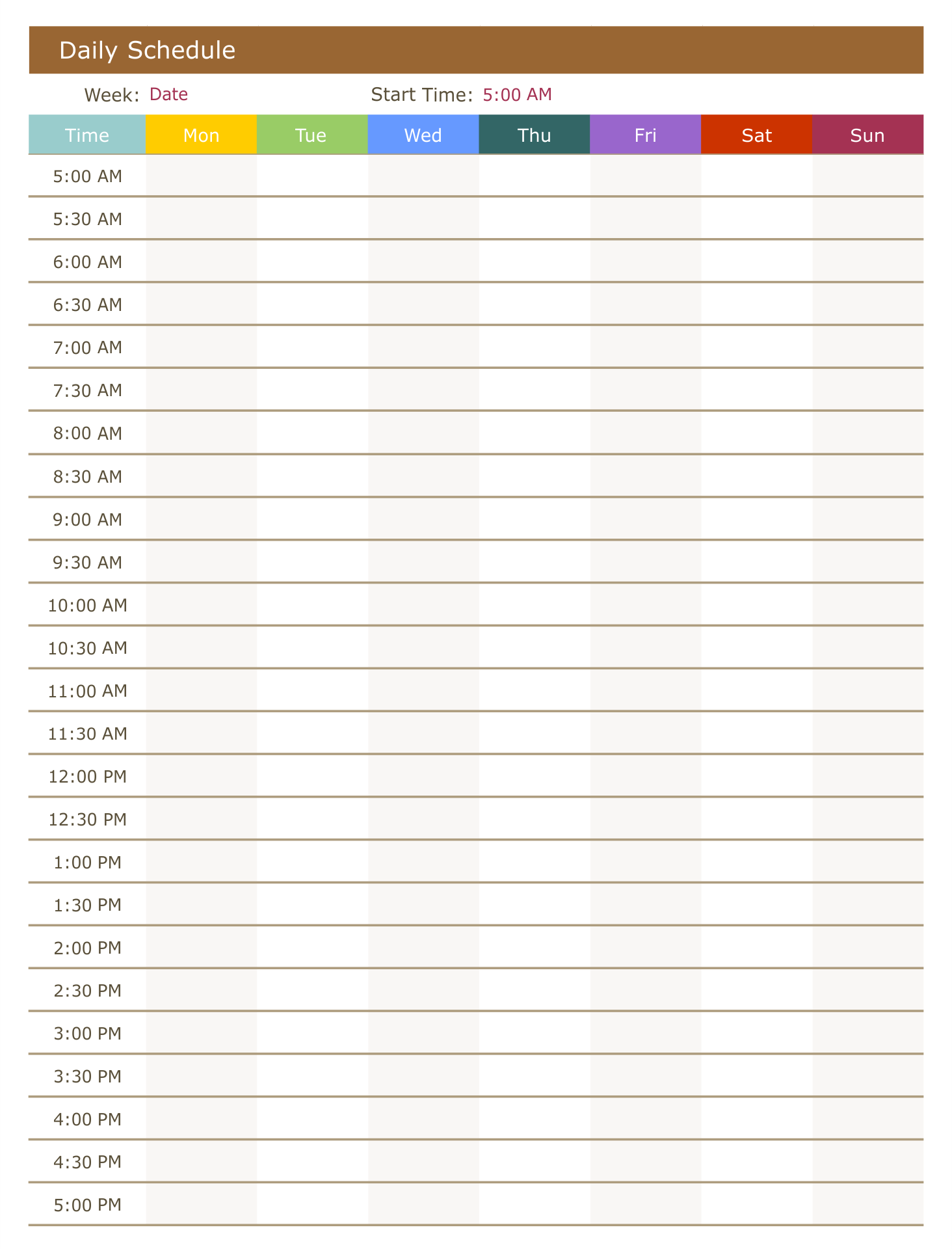 Printable Daily Time Schedule