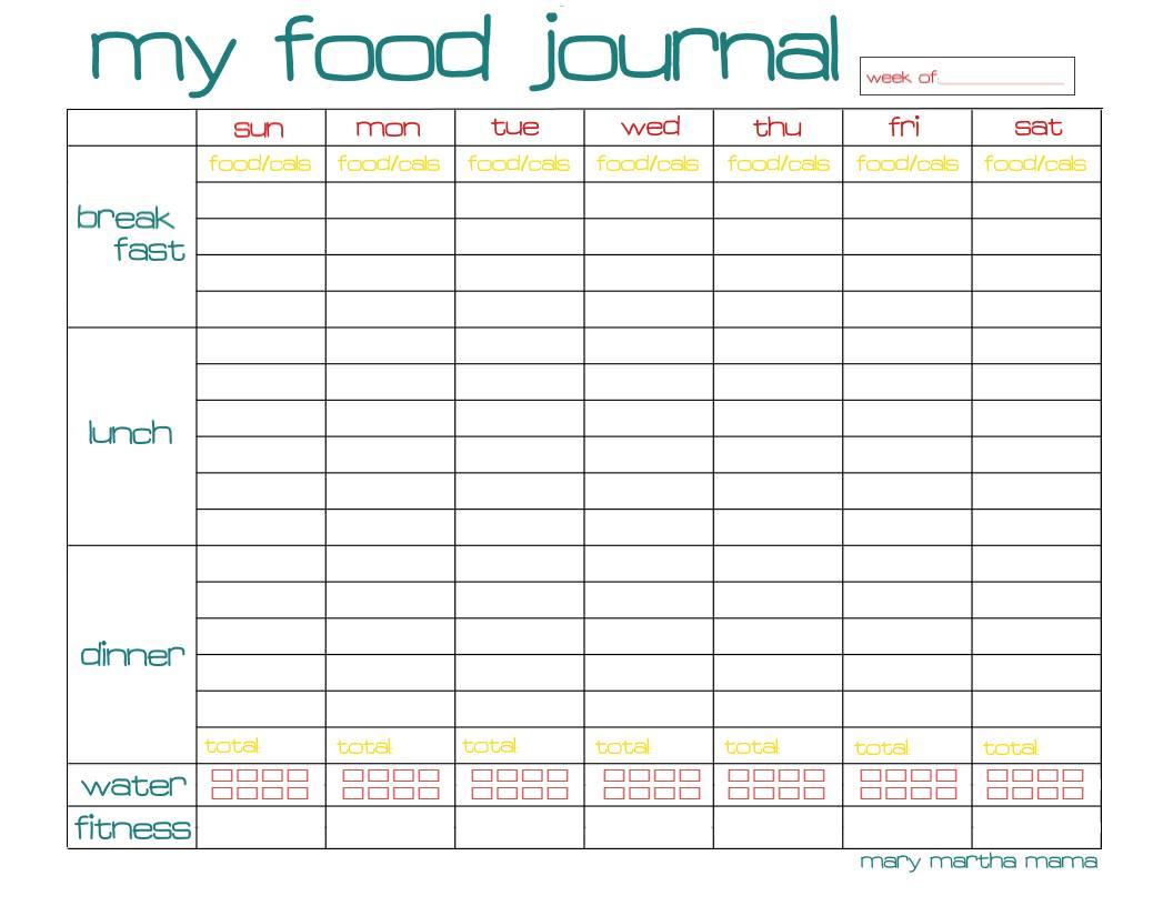 Free Printable Food Log Journal