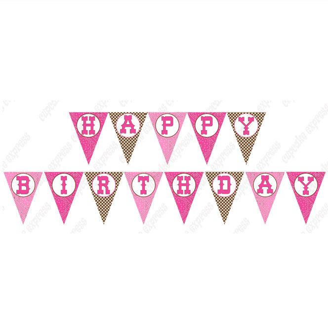 Cowgirl Happy Birthday Banner Letter Template