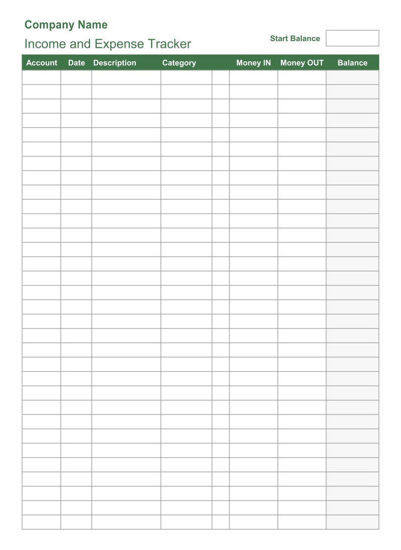 Printable Income Expense Tracker