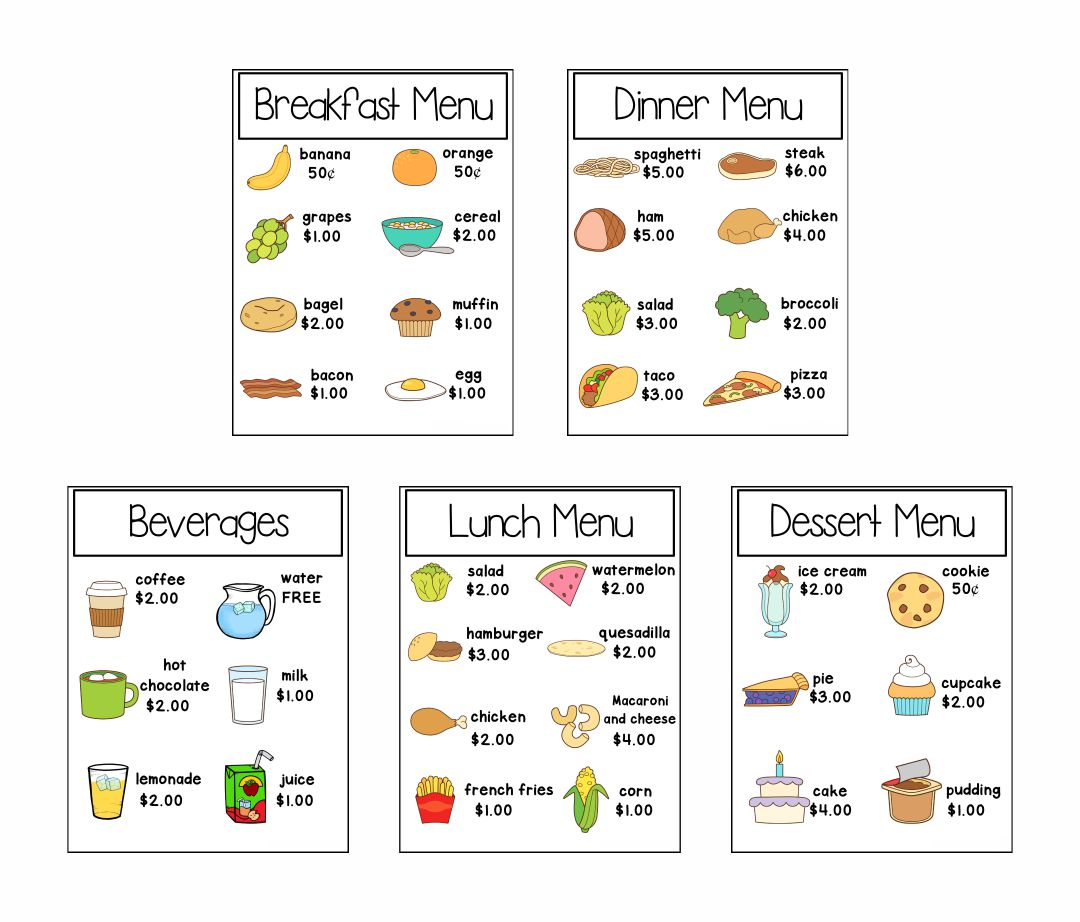 Printable Preschool Dramatic Play Menu