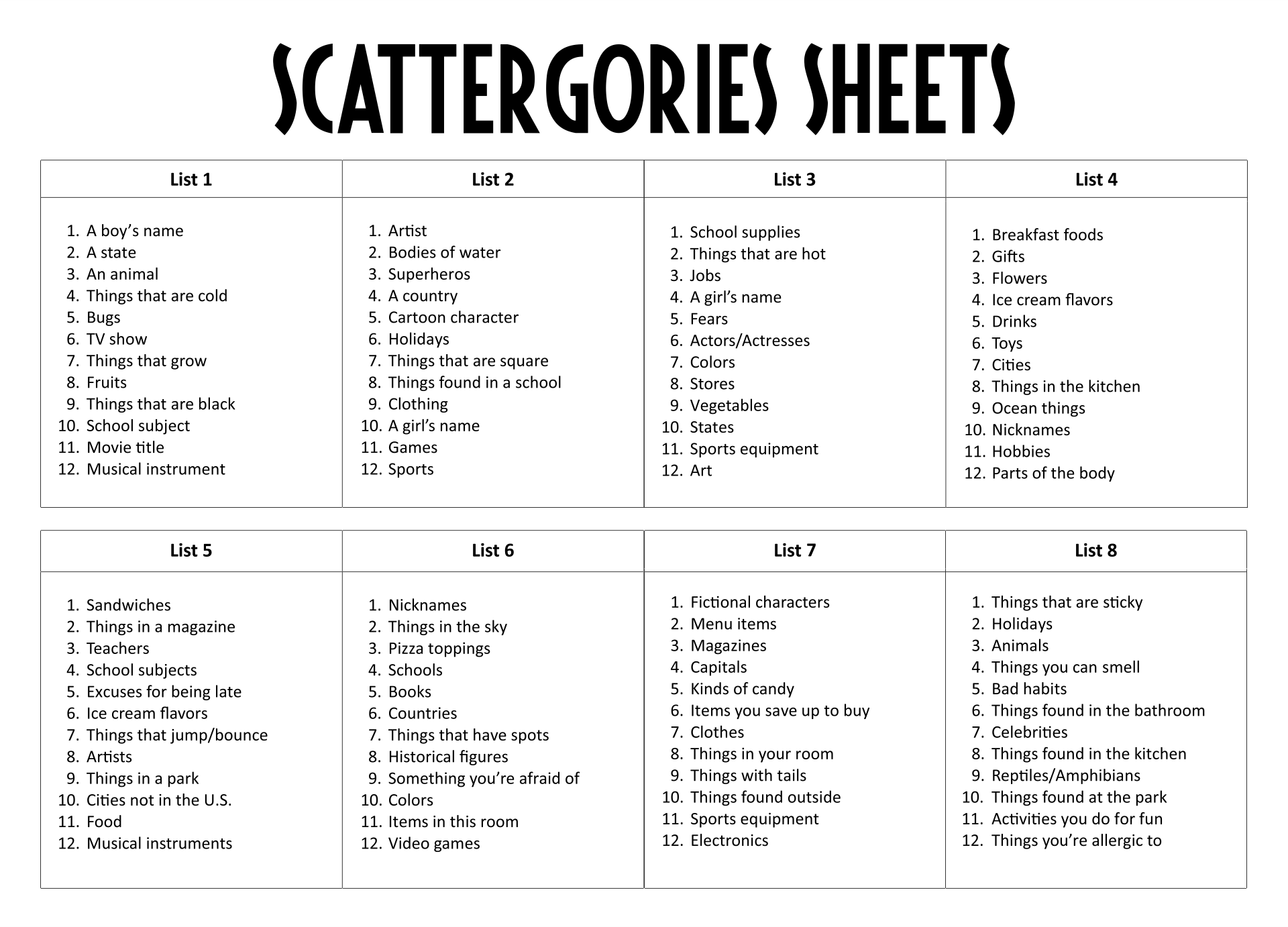 7 Images of Scattergories Printable Score Sheets