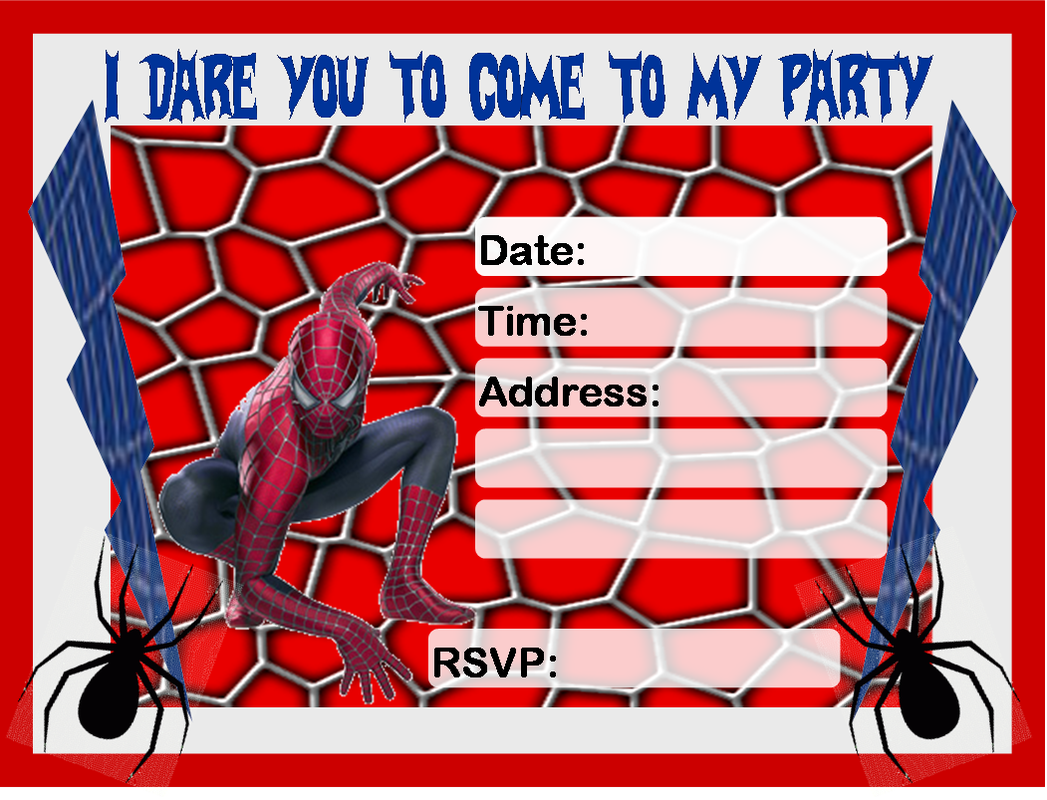 11 Images of Spider-Man Printable Invitation For Boys