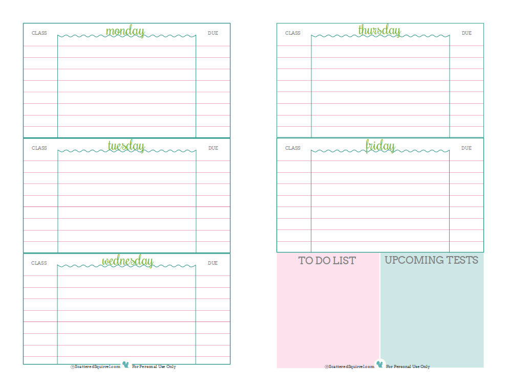 4 Images of Free Printable School Homework Planner Page