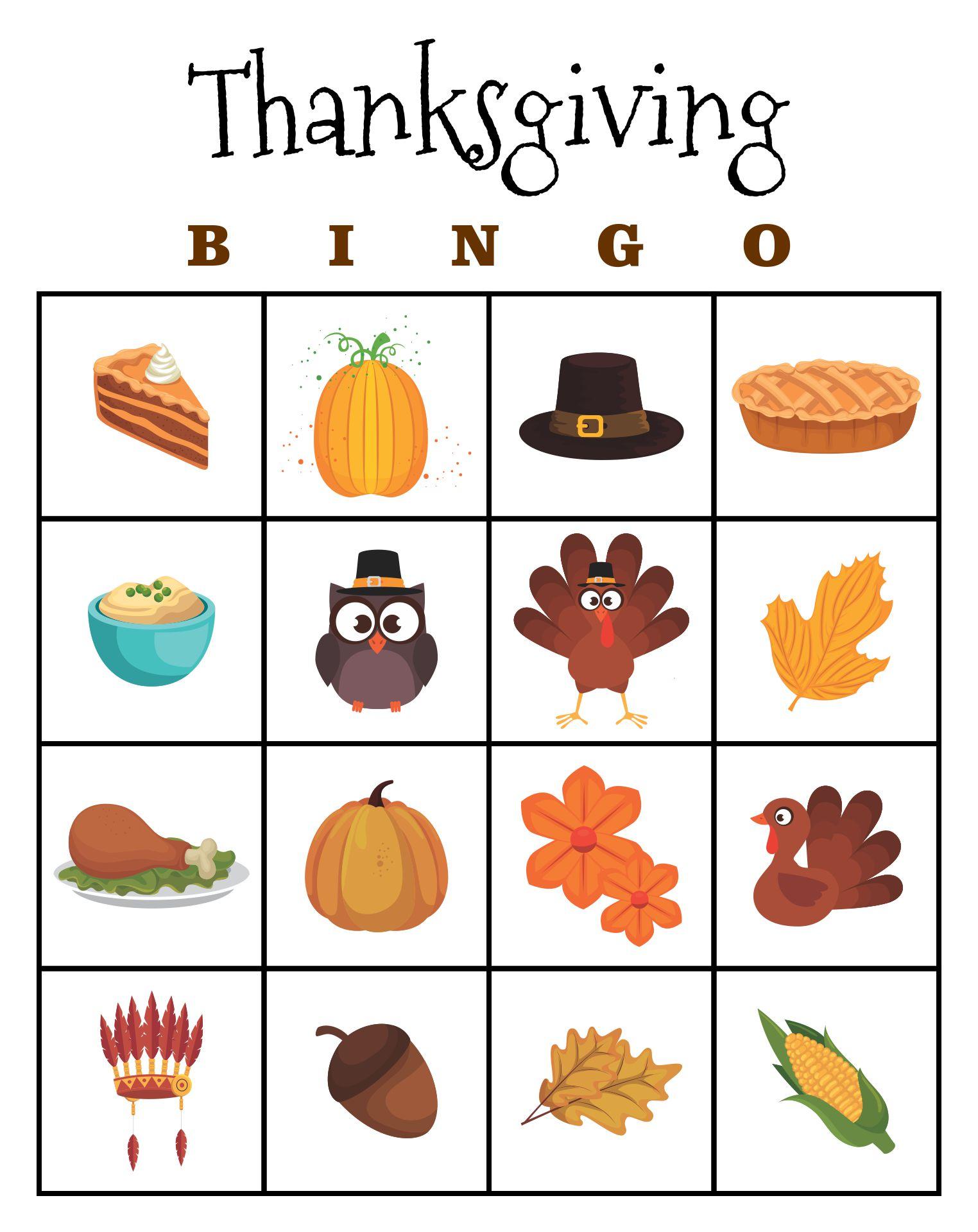 7 Images of Printable Thanksgiving Bingo