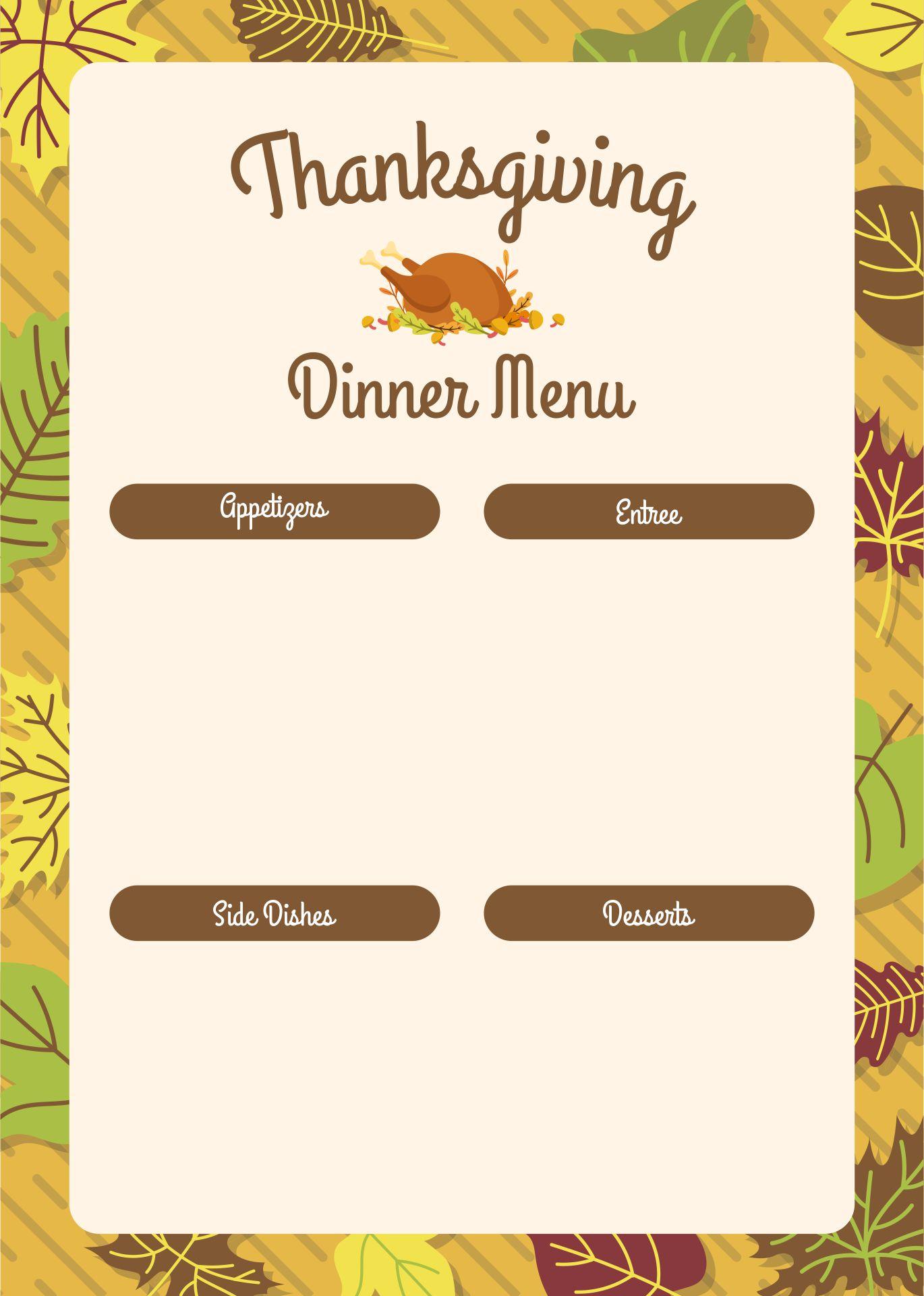 Printable Thanksgiving Dinner Menu Cards