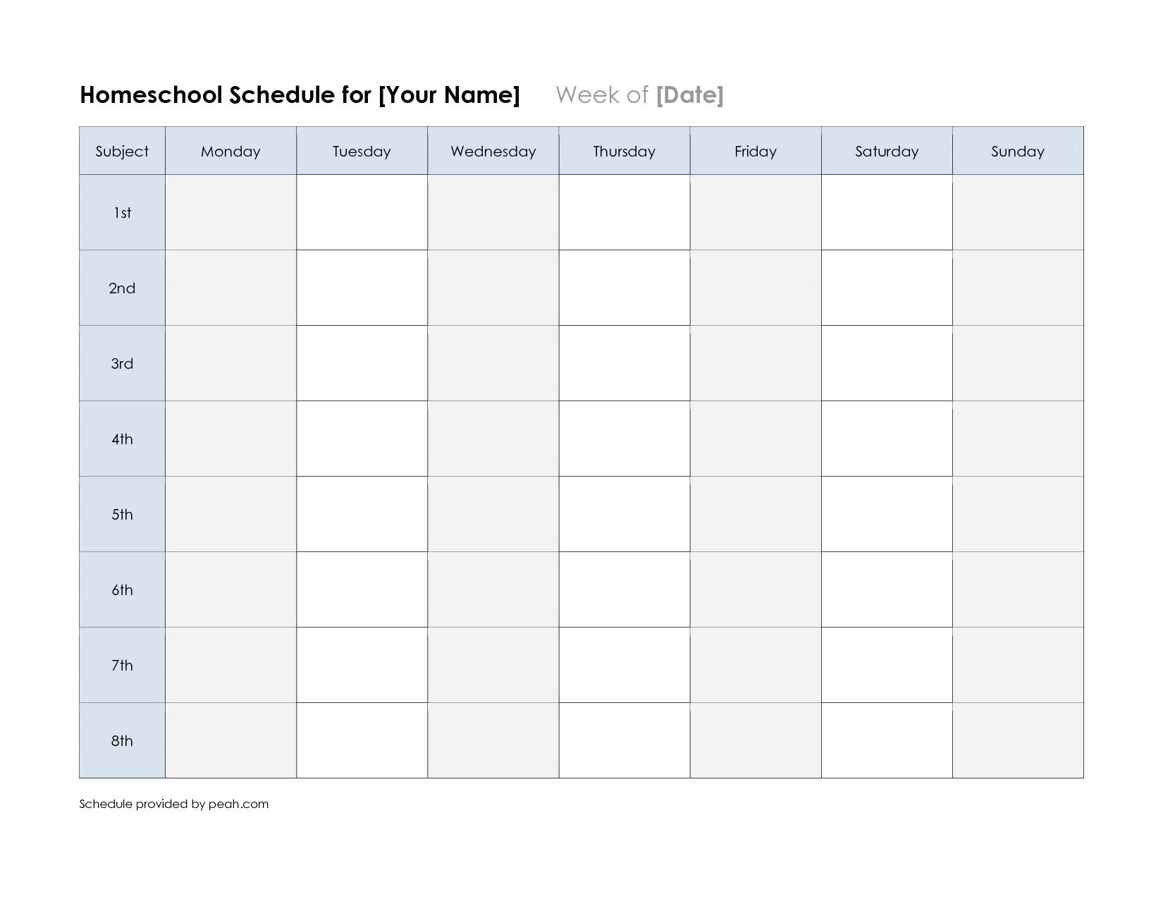 Free Printable Weekly Schedule Calendar