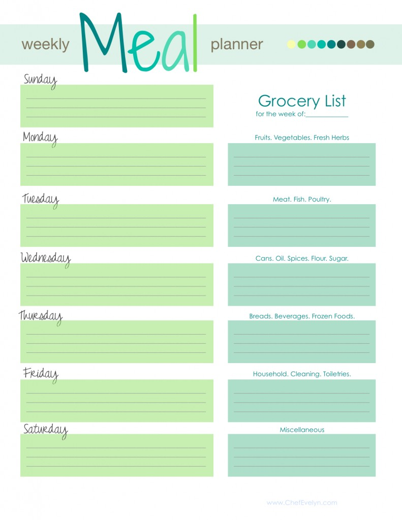 8 Images of Free Printable Weekly Meal Planner Template