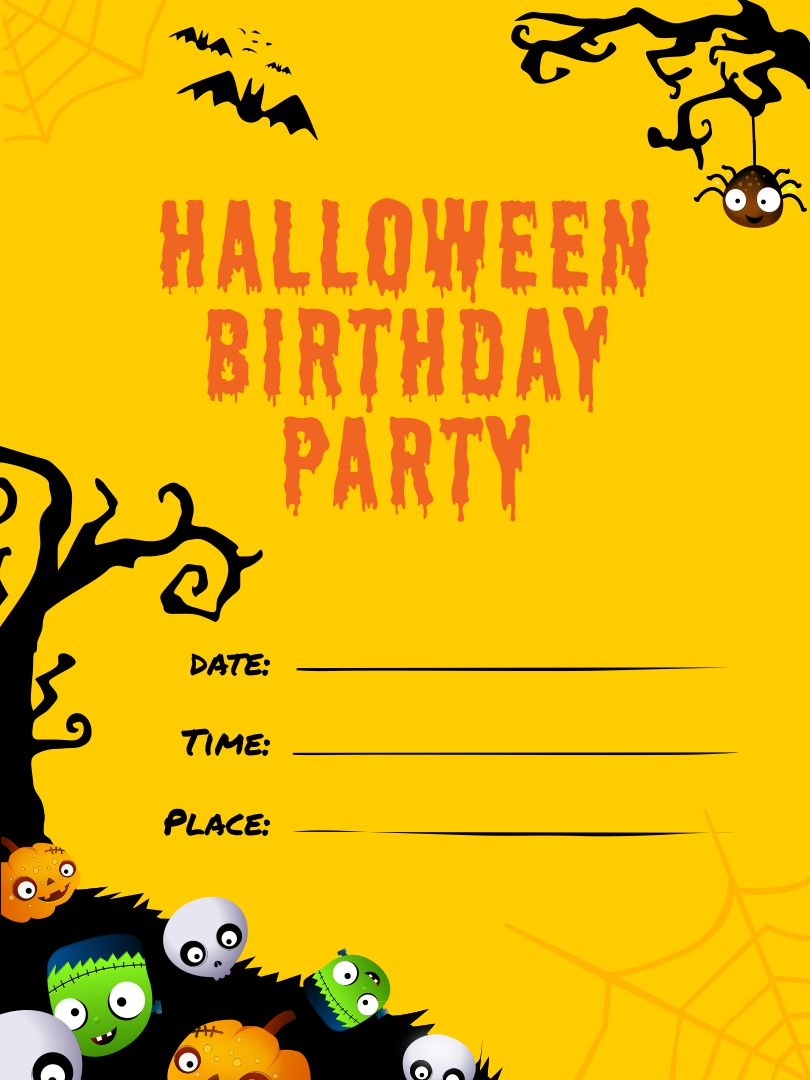 5 Images of Halloween Birthday Invitations Printable