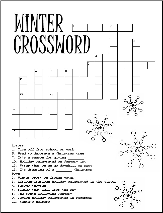 Best Images Of Free Printable Winter Crossword Puzzles Kid