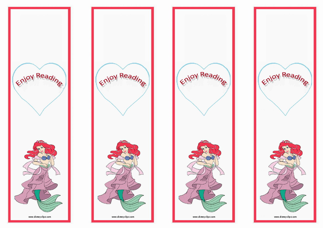 7 Images of Little Mermaid Bookmarks Printable Free