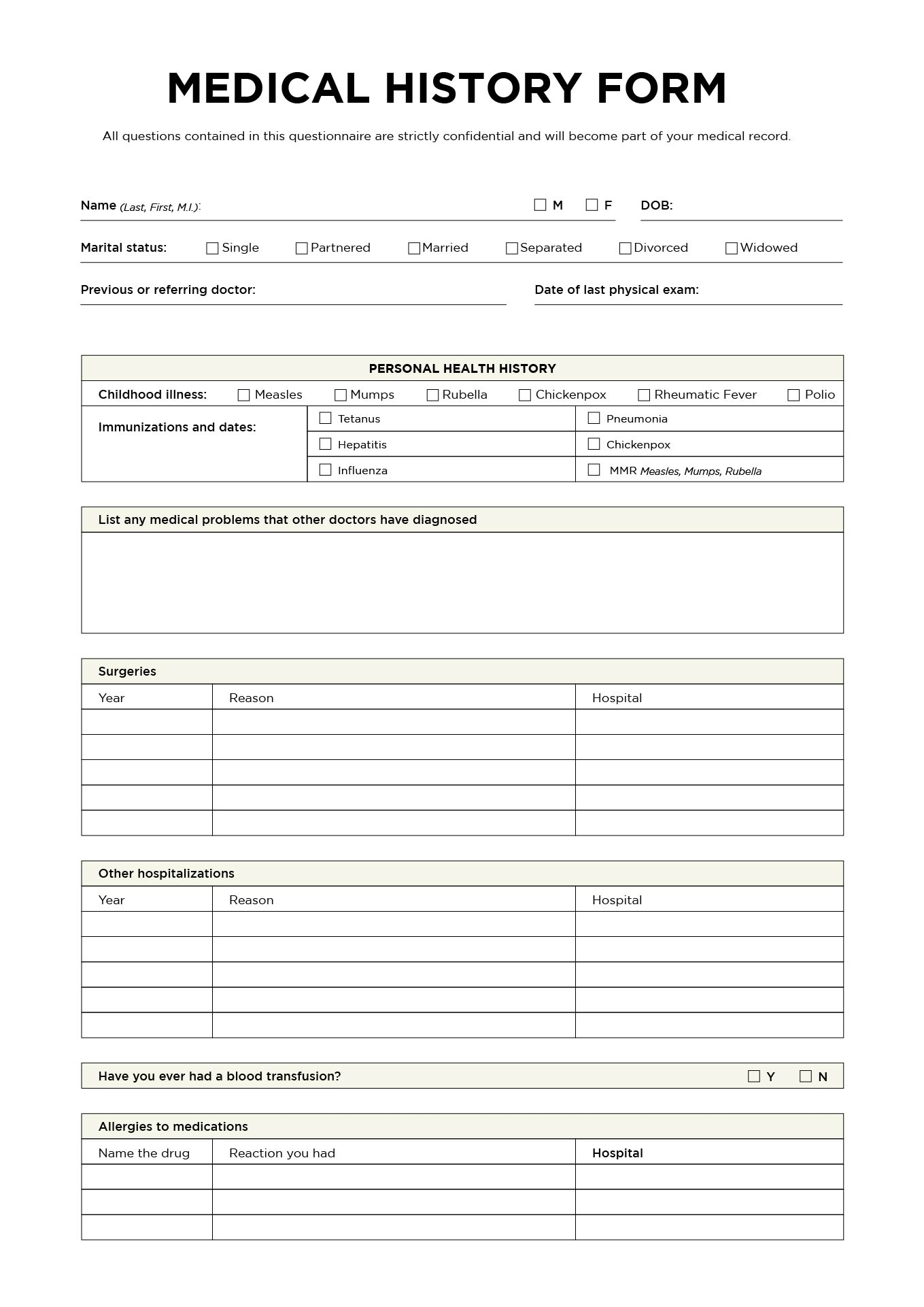 Doc650753 Medical Record Form Template Medical Records – Medical Record Form Template