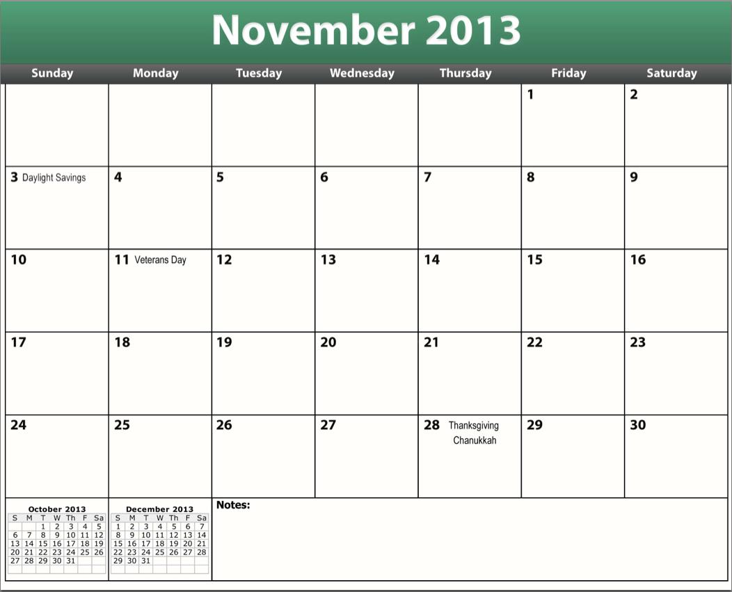 5 Images of November 2013 Calendar Printable