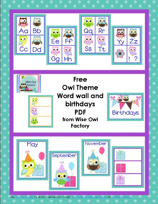 6 Images of Owl Classroom Printables