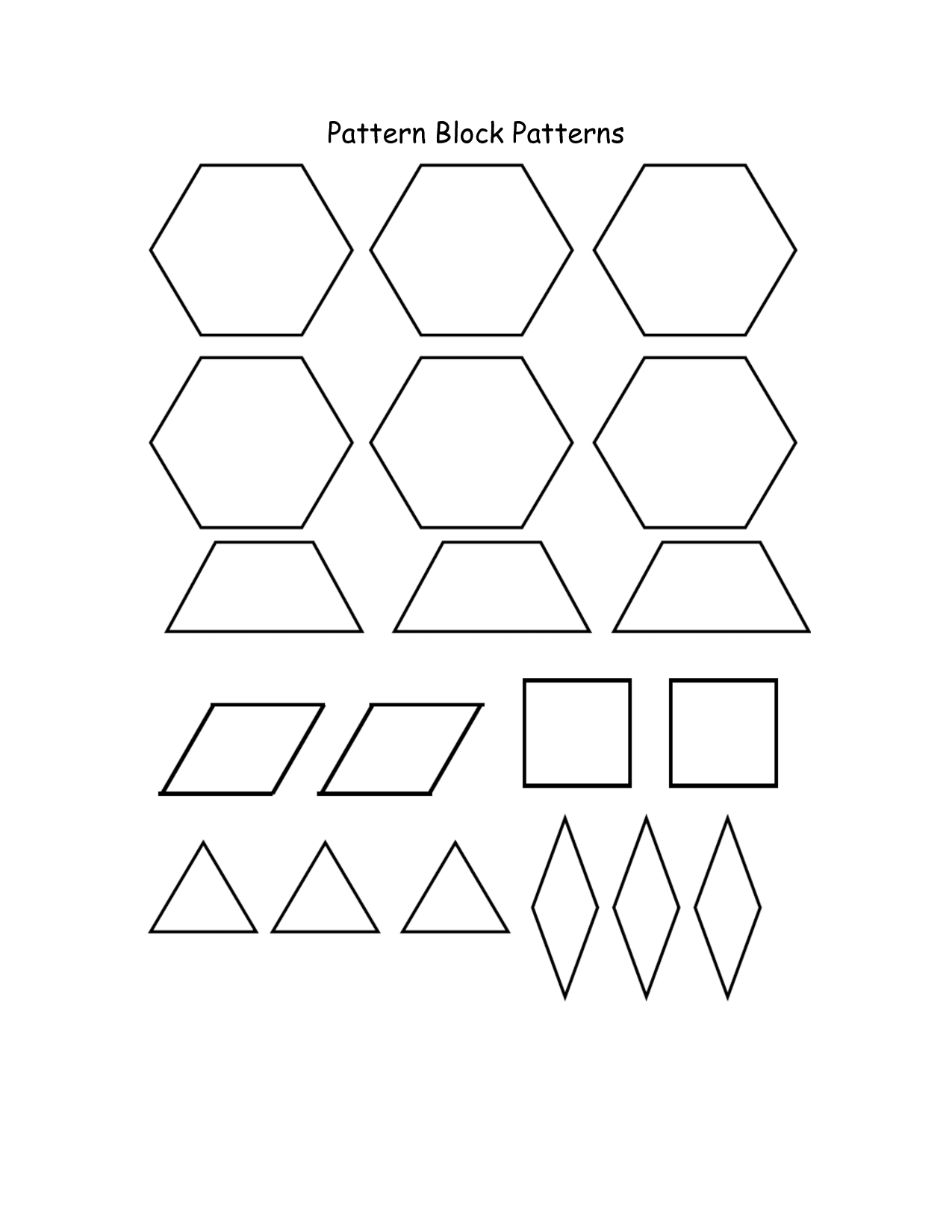 8 Images of Free Pattern Block Printables