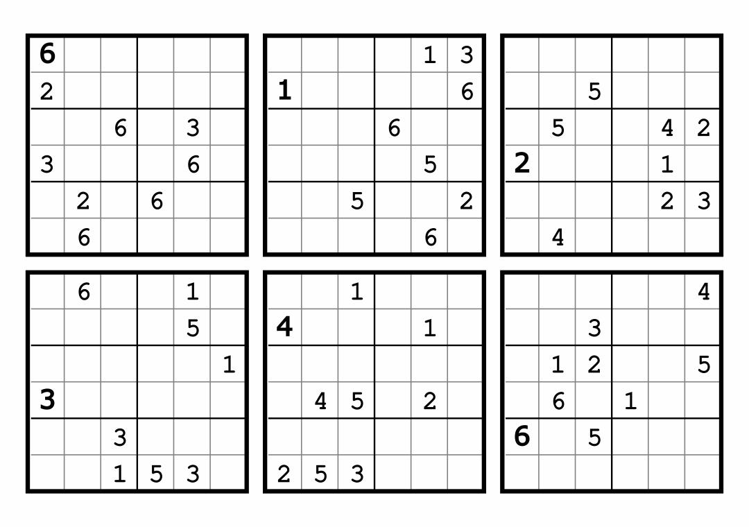 7 Images of 6 X 6 Sudoku Printable
