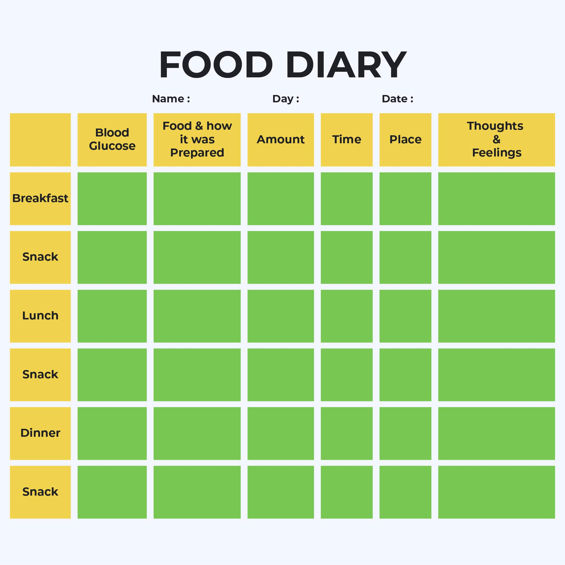 Diabetic Food Log Sheets Printable