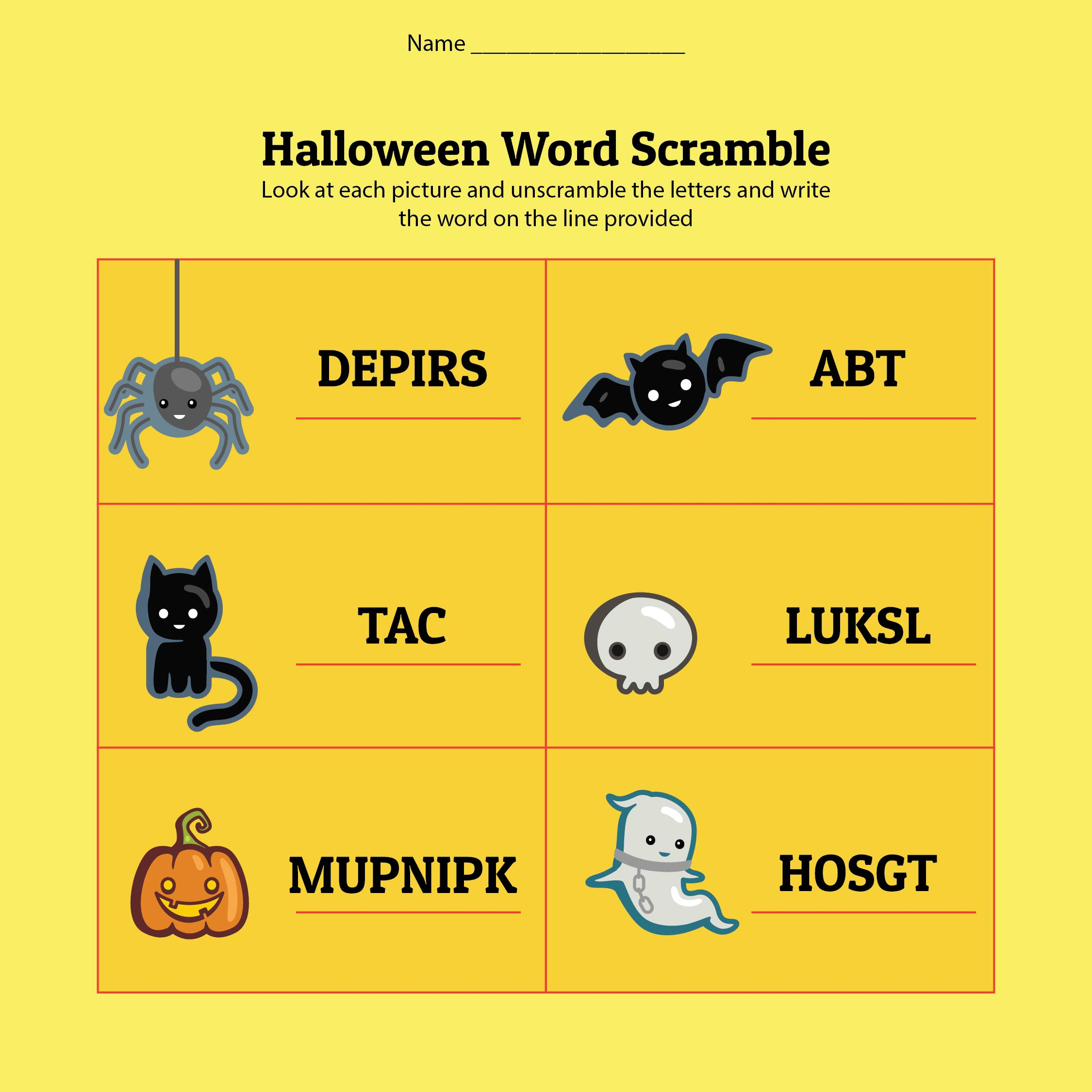 Printable Halloween Word Scramble Worksheet