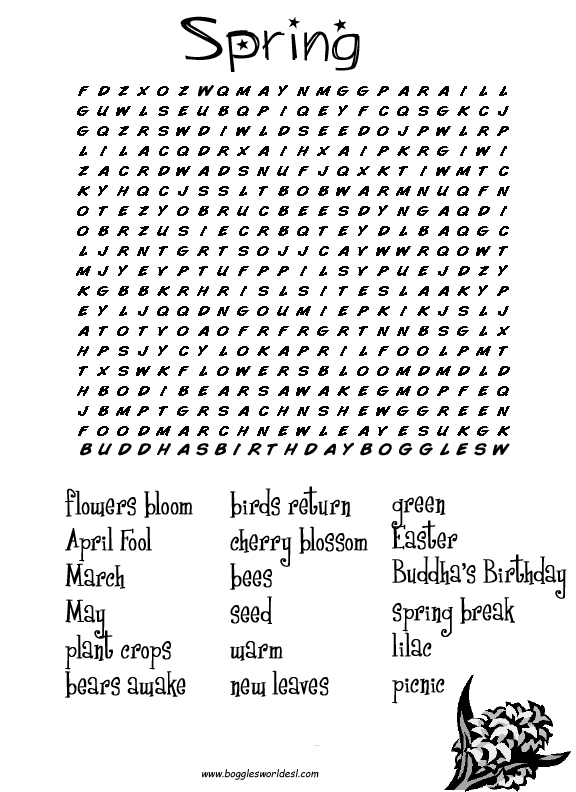 6 Images of Printable Spring Worksheets And Word Search Puzzle