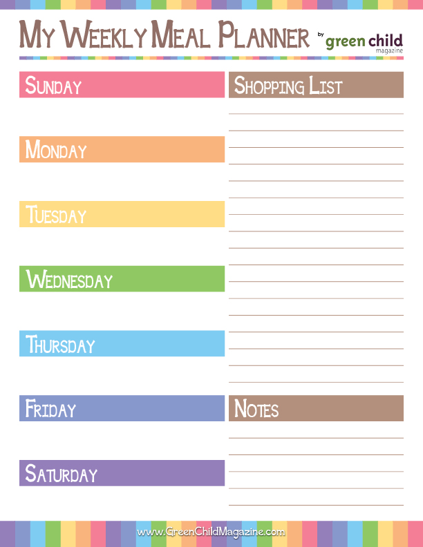 8 Images of Weekly Meal Planner Printable