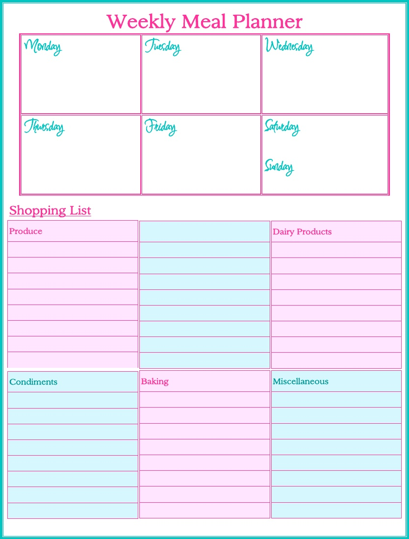 8 Best Images Of Weekly Meal Planner Printable Printable