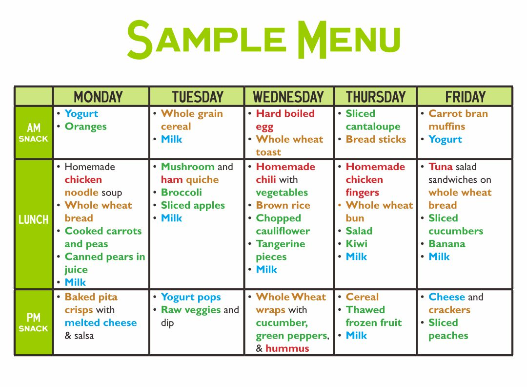 Sample Daycare Food Menu