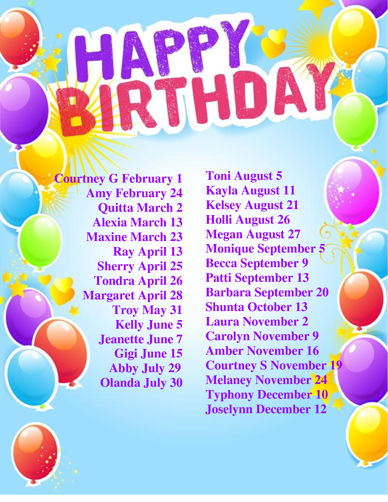 Birthday Calendar Ideas For Work : Best images of birthday list template printable