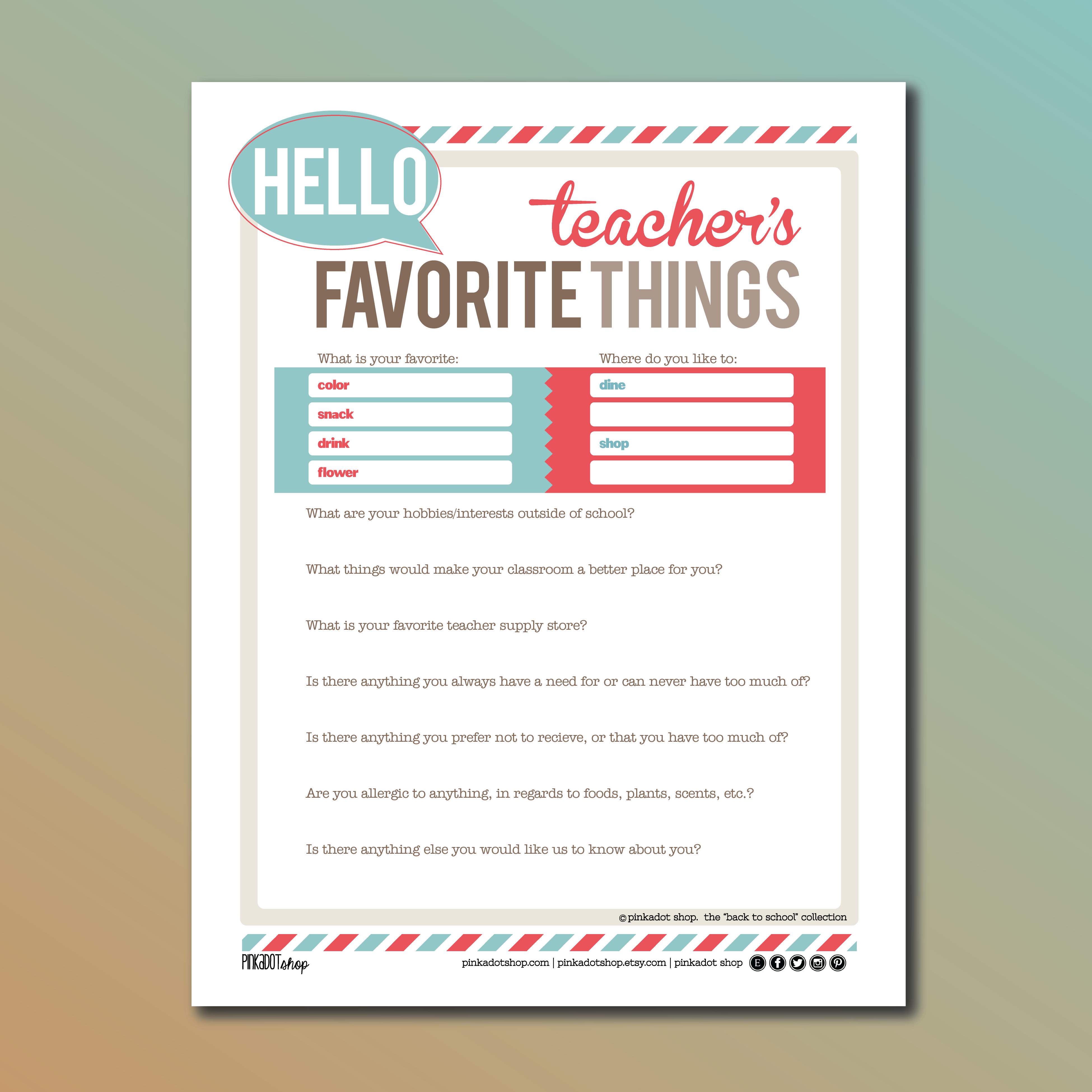 7 Images of Printable Teachers My Favorite Things