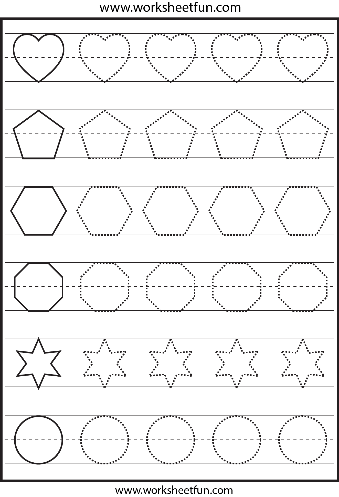 math worksheet : 4 best images of free printable tracing shapes worksheets  : Kindergarten Shapes Worksheets