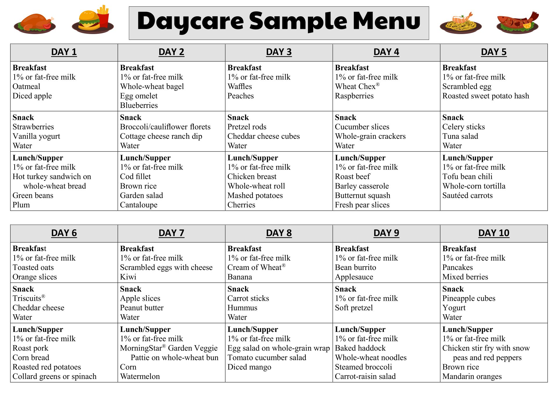 daycare food menu template 8 best images of printable menus daycares sample daycare