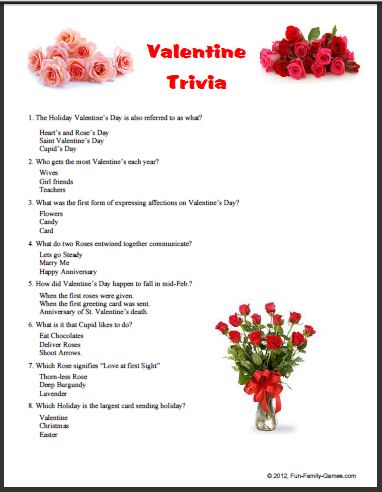 5 Images of Valentine Day Candy Trivia Printable