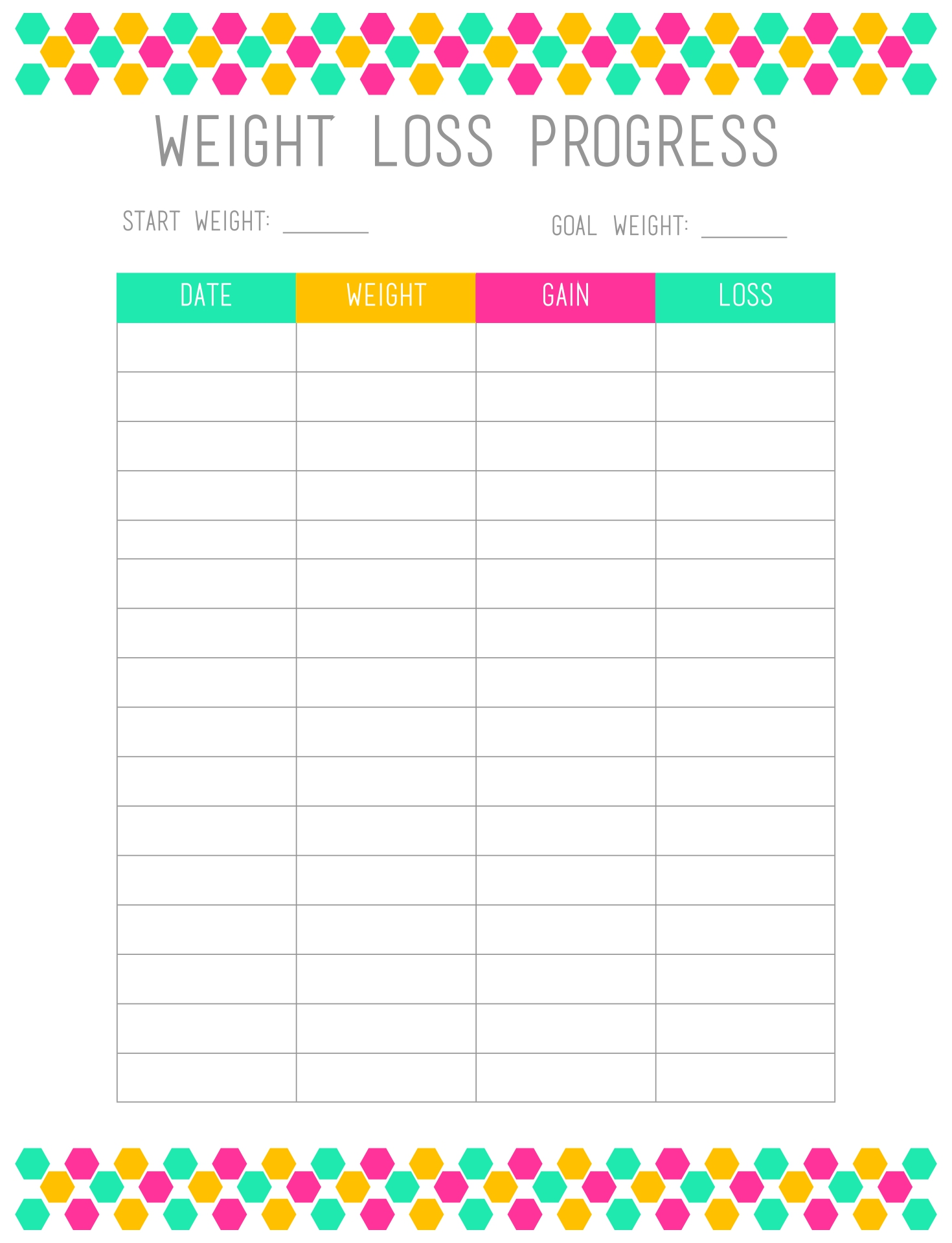 Weekly Weight Loss Charts Printable