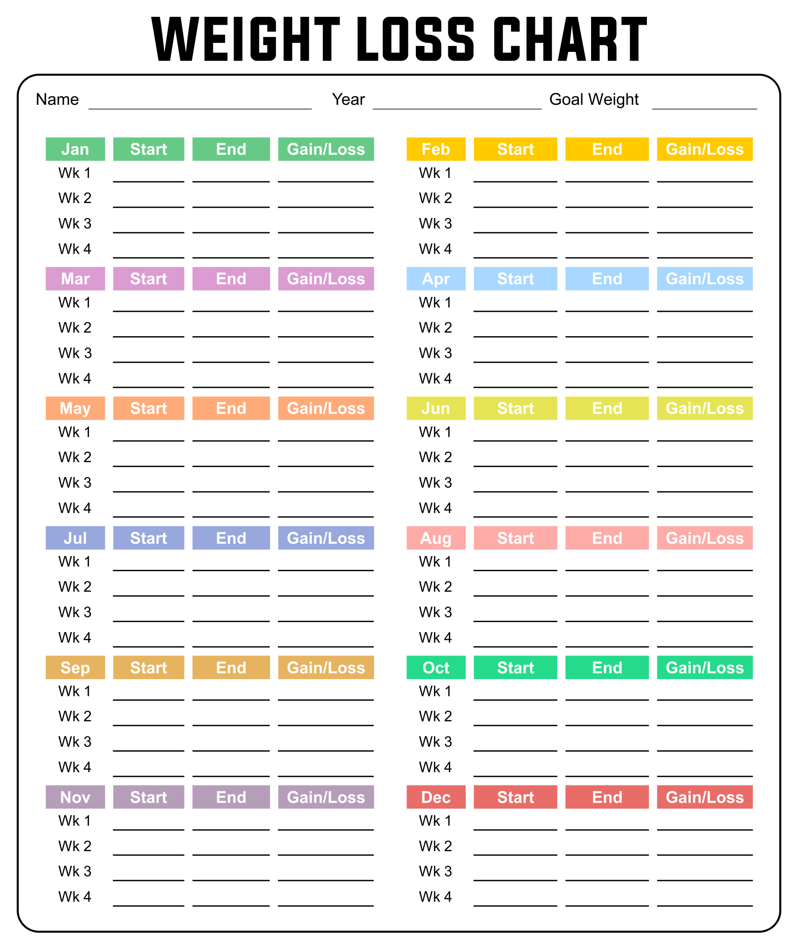 Weekly Weight Loss Calendar : Best images of week chart printable weight loss