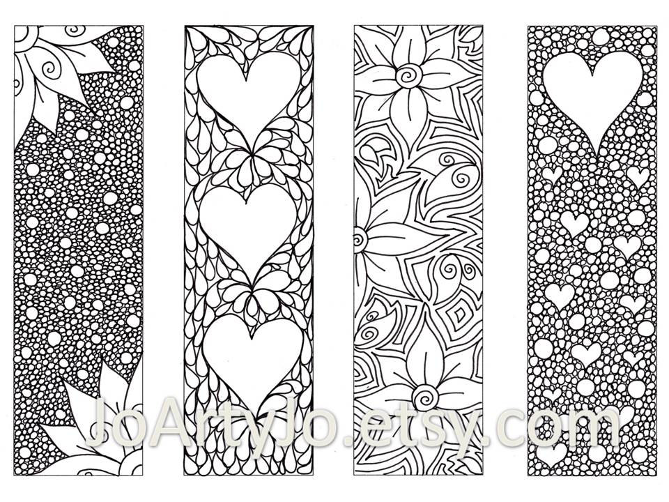 5 Images of Valentine Printable Bookmarks To Color