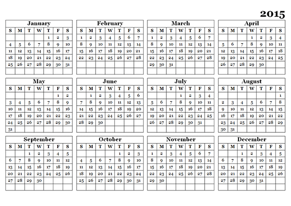 7 Images of Printable 2015 Yearly Calendar Template