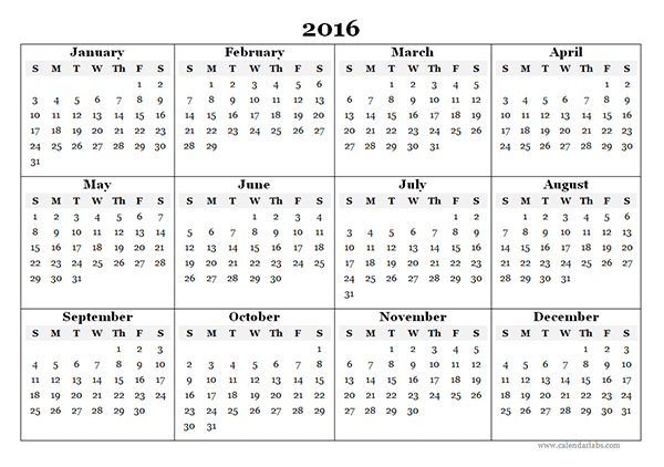5 Images of 2016 Yearly Calendar Printable