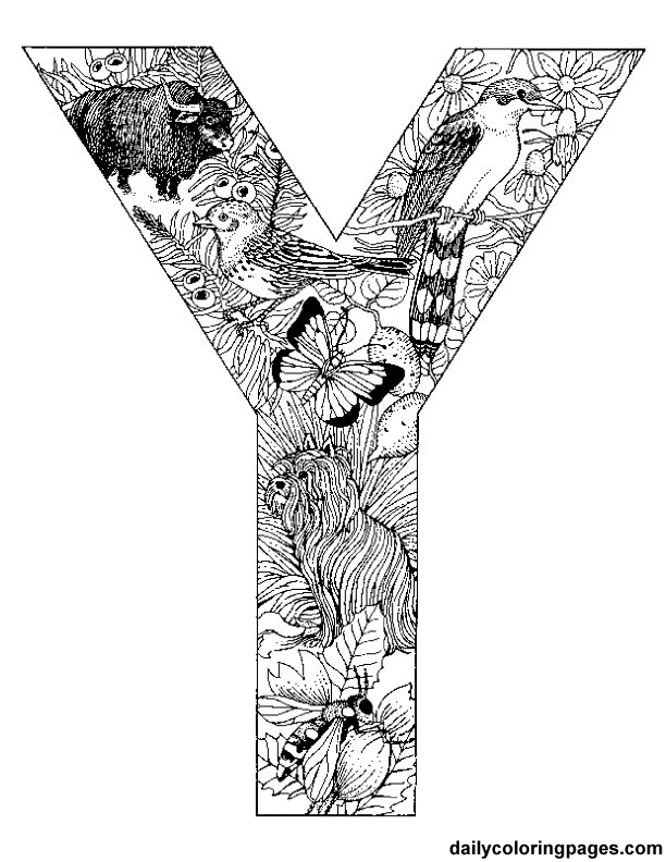 Animal Alphabet Letter Y Coloring Pages