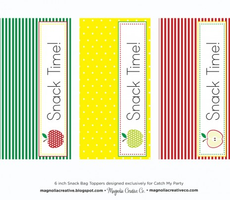 7 Images of Snack Bag Toppers Printables